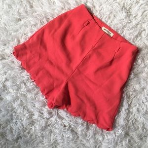 Monteau Coral High Waisted Scalloped Shorts